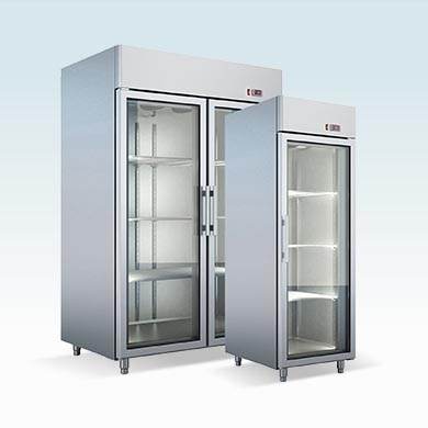 Refrigerated cabinets with glass door