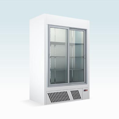 Under mounted refrigerated displays with sliding doors