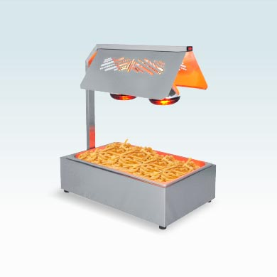 Food warmer with lamps